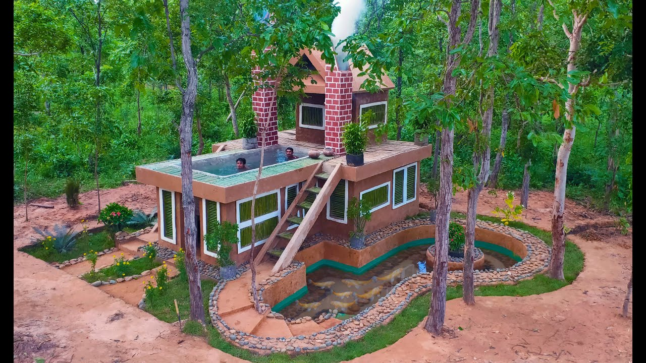 We Build a House Easy Survival House, Swimming Pool And Survival Fish Pond ( Full Video)