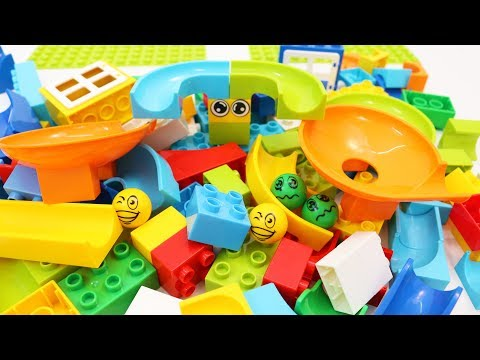 Building Blocks Toys for Children Learning Colors with Marble Run for Kids
