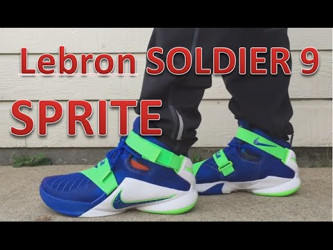 brand new 94704 c97d9 Lebron Soldier 9 SPRITE Review with ON FEET