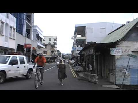 Mauritius.The opposite side of postcard.The streets of Mahebourg