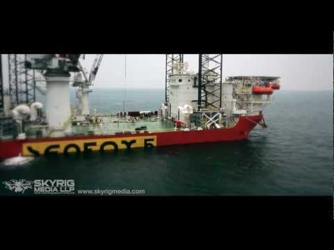 Offshore Oil Rig Aerial filmed at Anchorage