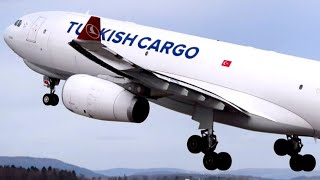 Airside Spotting - Turkish Cargo Airbus A330F Takeoff at Zurich Airport
