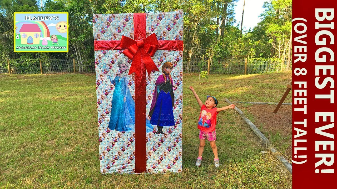 f3c603b2f6d Frozen Biggest Surprise Box Ever at 8ft with Ride On Toy Car! Elsa and Anna  Toys