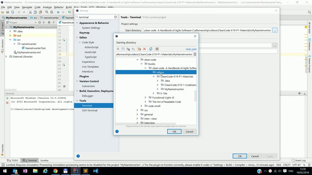IntelliJ/webstorm - Terminal :change start path