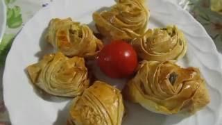 Турецкий гюль борек с картошкой и сыром (творогом).Лаваш с начинкой.