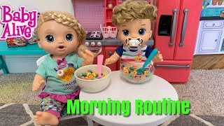 Baby Alive Lulu Morning Routine with new baby brother