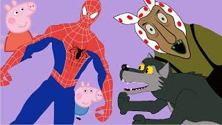 Мультфильм Свинка Пеппа Баба Яга и ВОЛК ХОТЯТ ИХ СЪЕСТЬ Спайдермен спасает!!!!!!!!