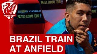 Firmino, Neymar, Coutinho   Brazil training at Anfield
