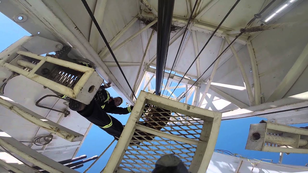 Derrickman on a drilling rig using fall protection - MI Safety Inc