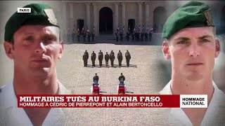 Hommage national aux deux commandos : les cercueils des militaires quittent la cour des Invalides