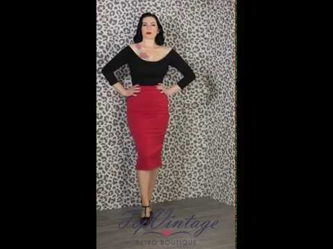 TopVintage - Deena Top in Black & 50s Agnes Rose Grand Pencil Skirt in Red