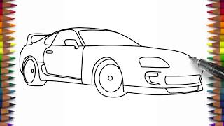 How to draw Toyota Supra easy car drawing