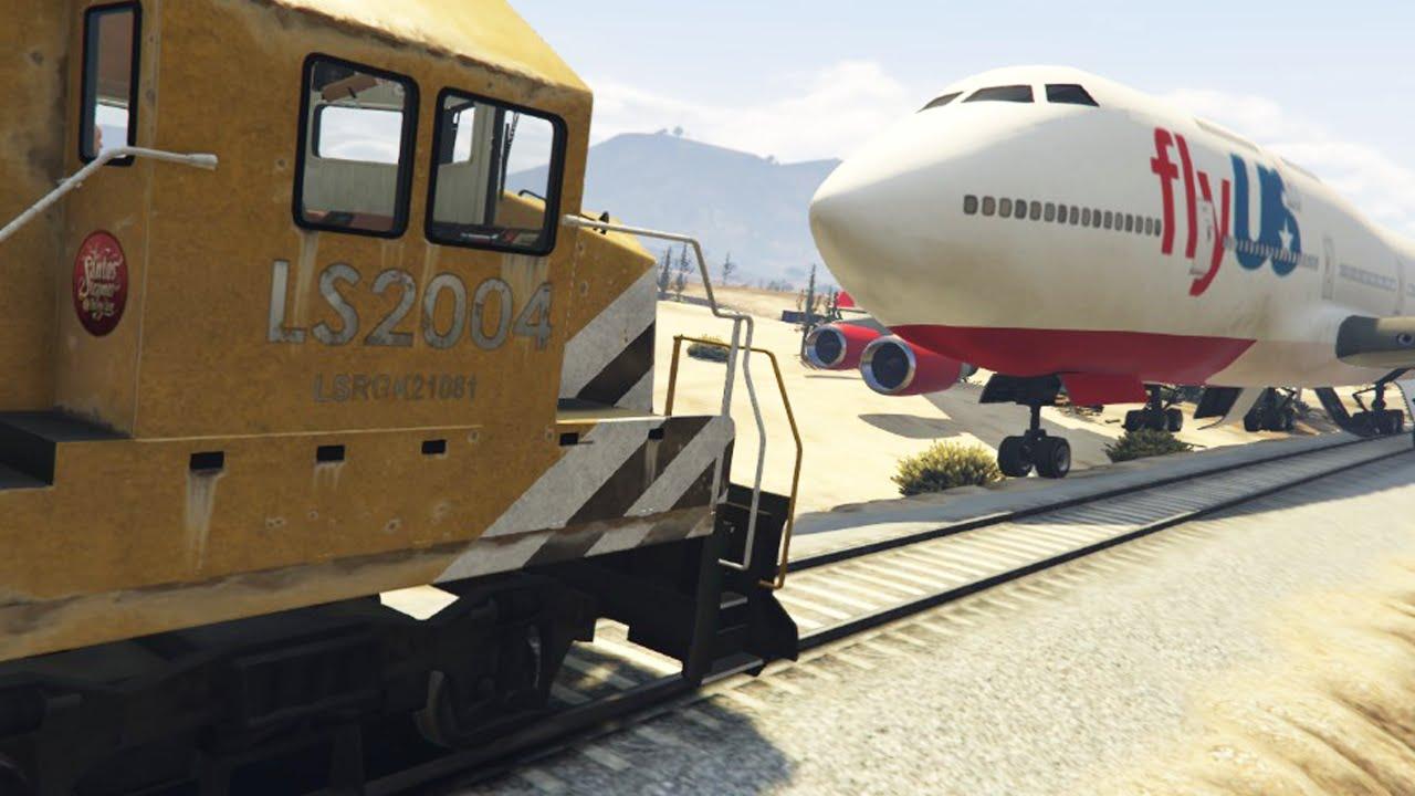 Gta  Train Crashes Into Car