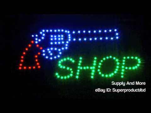 Revolver Led Open Gun Shop Sign Display Ammo Ammunition Repair Store