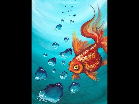 Goldfish and Realistic Underwater Bubbles Step by Step Acrylic Painting Tutorial  for Beginners