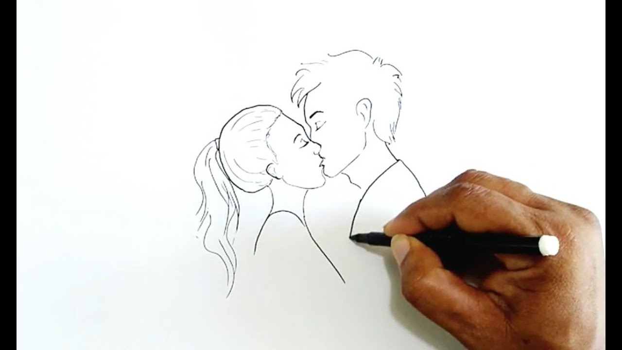 Drawings Of Two People Kissing