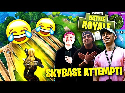 WE TRIED THE SKYBASE FOR THE 100TH TIME!!! ft. The Fellas (Fortnite Battle Royale Funny Moments)
