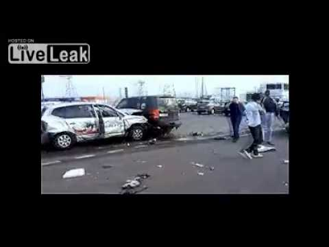 Trucker plows thru freeway traffic destroying everything in his path