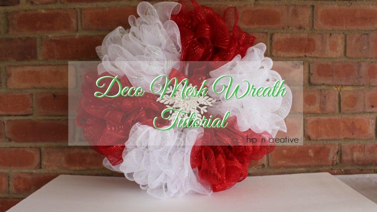 deco mesh wreath tutorial dollar tree diy hip 39 n creative youtube. Black Bedroom Furniture Sets. Home Design Ideas