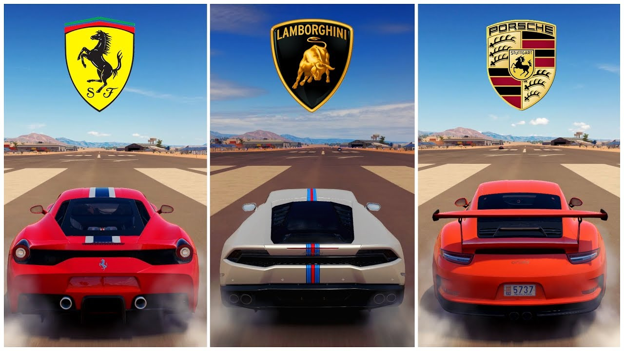 Battle Ferrari 458 Speciale Vs Lamborghini Huracan Vs Porsche 911 Gt3 Rs Forza Horizon 3 Youtube