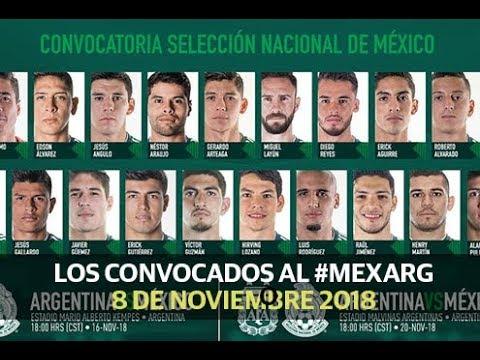 Los convocados para el #mexarg - Deportes (8 de noviembre 2018)