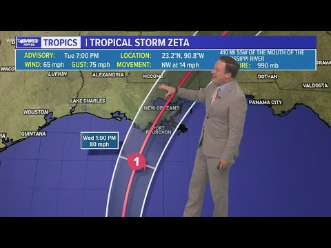 Tuesday 7 PM Tropical Update: Zeta remains a Tropical Storm