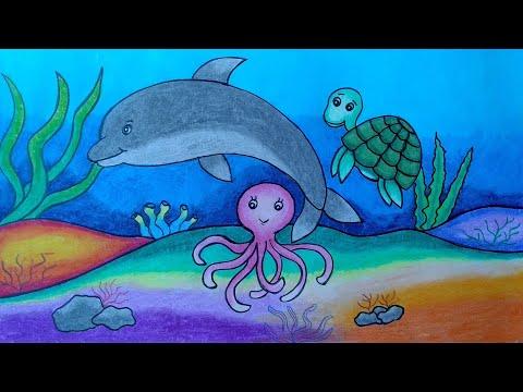 Cara menggambar aneka hewan laut || menggambar dan mewarnai hewan laut