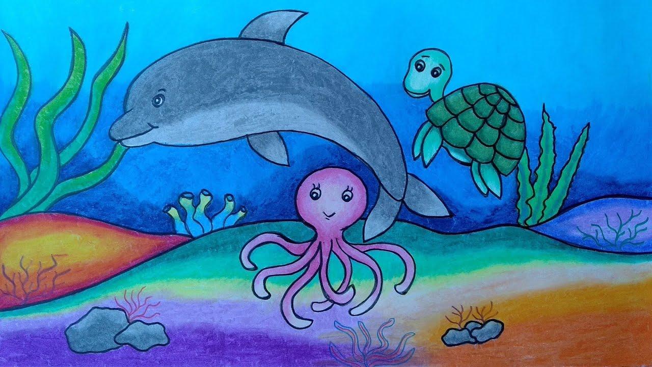 Cara Menggambar Aneka Hewan Laut Menggambar Dan Mewarnai Hewan Laut