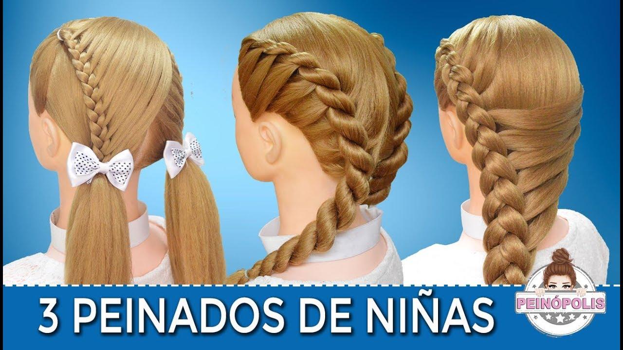 3 peinados faciles y rapidos de ni as con trenzas para - Peinados fiesta faciles ...