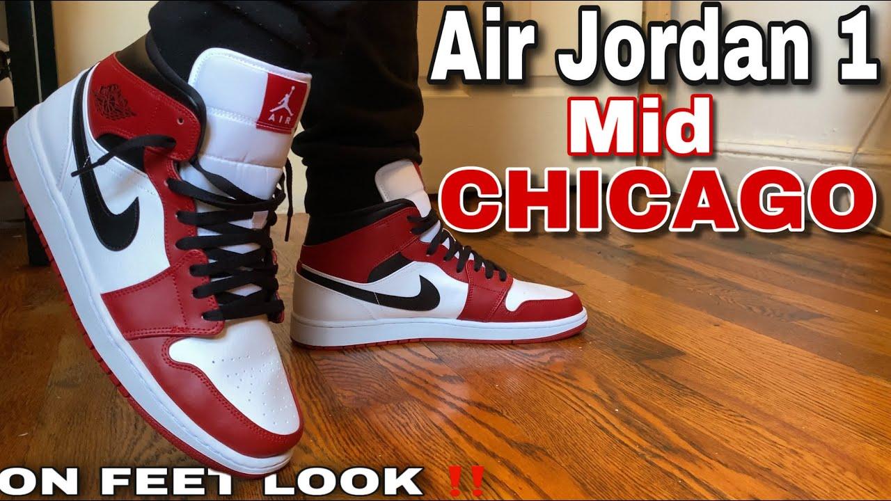 Jordan 1 Mid Chicago White Heel On Feet Youtube