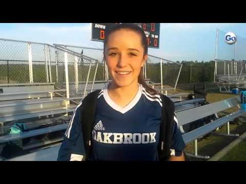 Oakbrook Prep's Caroline Comer talks about her goal in a 3-0 win at Spartanburg Christian Academy.