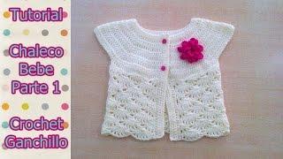Repeat youtube video DIY Como tejer chaleco bolero para bebe niña con flor a crochet, ganchillo (1/2)