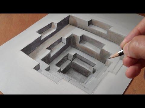 3D Drawing Hole - 3D Fine Art Trompe-l'oeil - How to Draw Trick Art