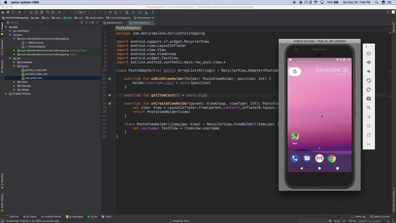 Android Kotlin Horizontal RecyclerView with Snapping