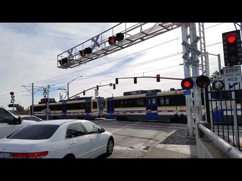 Center Parkway Railroad Crossing, Sacramento Light Rail Blue Line Outbound, Sacramento CA