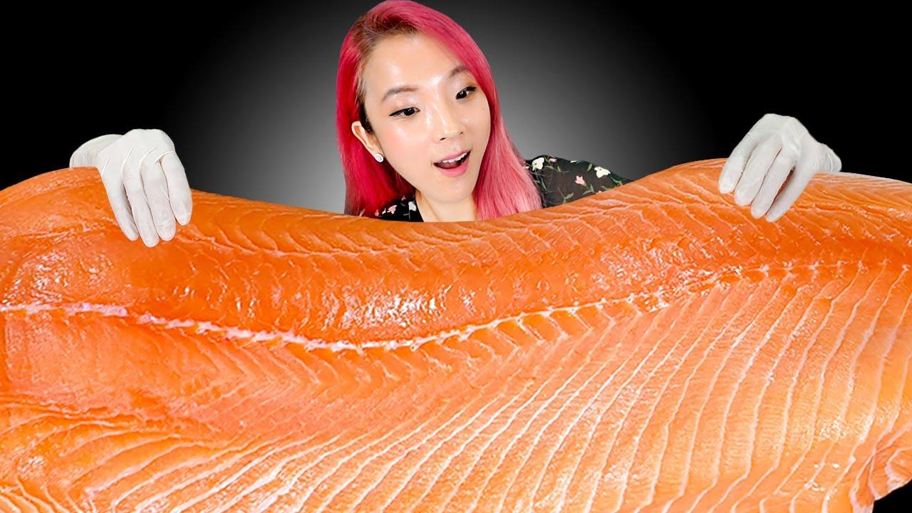 [Mukbang] Whole salmon sashimi 통연어 먹방1,5kg 순삭! 리얼사운드三文鱼 cá hồi  ปลาแซลมอน サーモンEating Sound ASMR | 쎄미