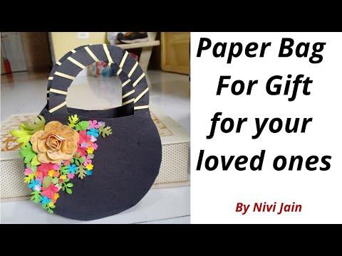 DIY -  Paper Gift Bag ( Easy )      Cute Paper Bag   How to make a paper gift bag   Minu Jain