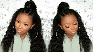 Ninja Bun Hair Tutorial With Clip Ins - KnappyHairExtensions
