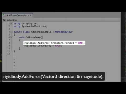 AddForce - Unity Official Tutorials - YouTube