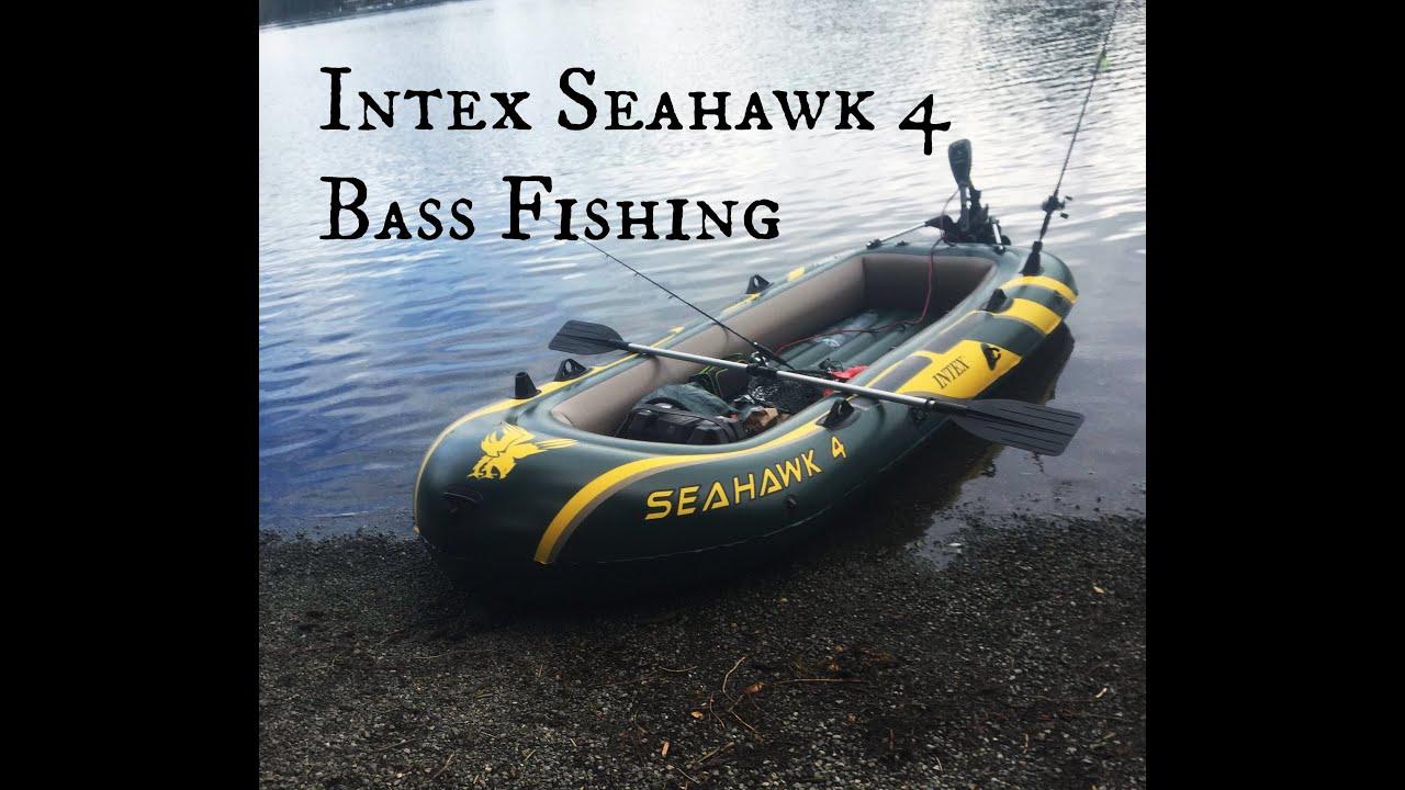 Intex seahawk 4 inflatable boat bass fishing youtube for Seahawk fishing boat
