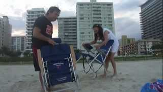 How to close a Tommy Bahama's beach chair...