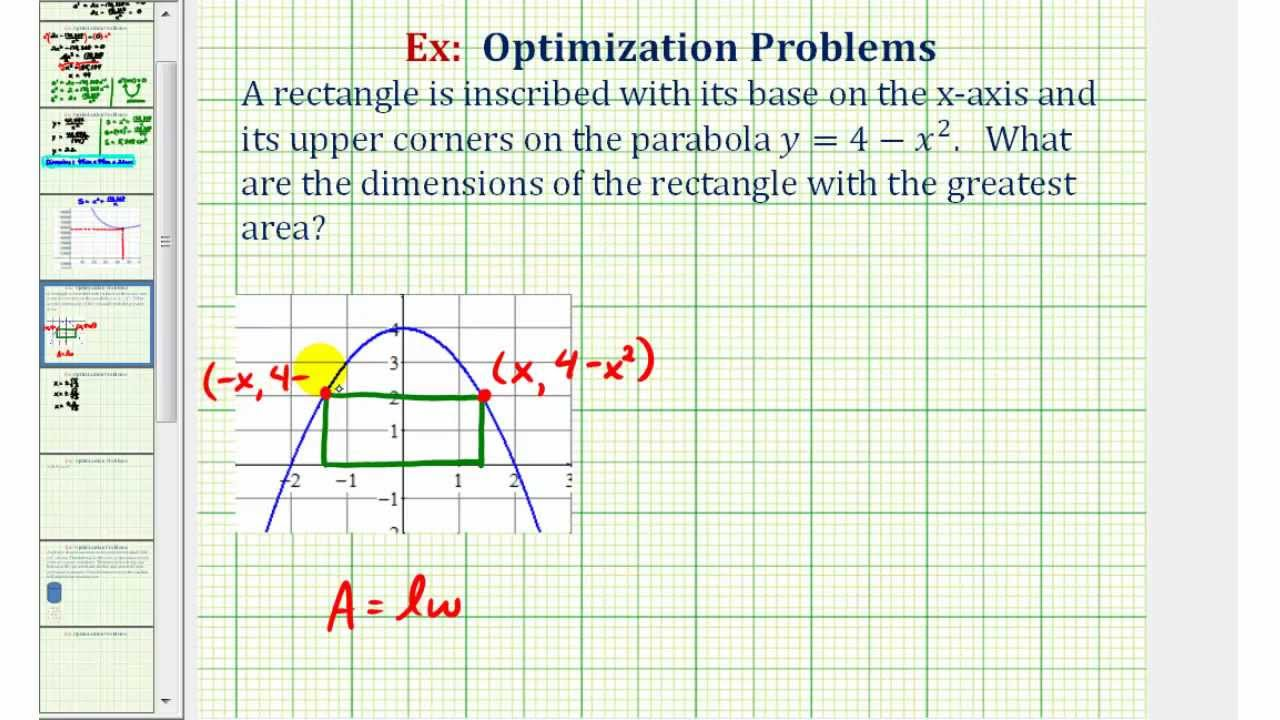 ex optimization maximum area of a rectangle inscribed by a parabola youtube [ 1280 x 720 Pixel ]