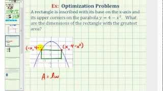 Ex: Optimization - Maximum Area of a Rectangle Inscribed by a Parabola