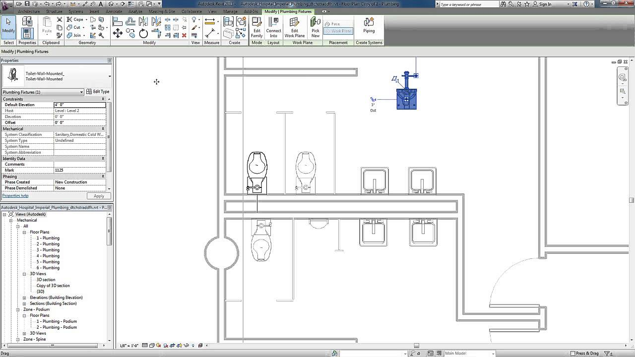 Diagram For Sink Plumbing Revit For Mep Plumbing Systems Adding Fixtures Youtube