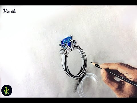 How to draw Antique wedding ring - 3d Ring Drwaing