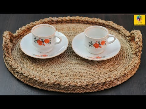 Best Out of Waste Ideas: How to Make Serving Tray with Jute Rope & Cardboard   Jute Rope Craft Idea