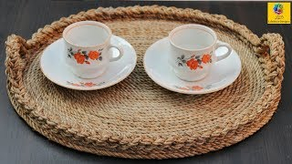 Best Out of Waste Ideas: How to Make Serving Tray with Jute Rope & Cardboard | Jute Rope Craft Idea