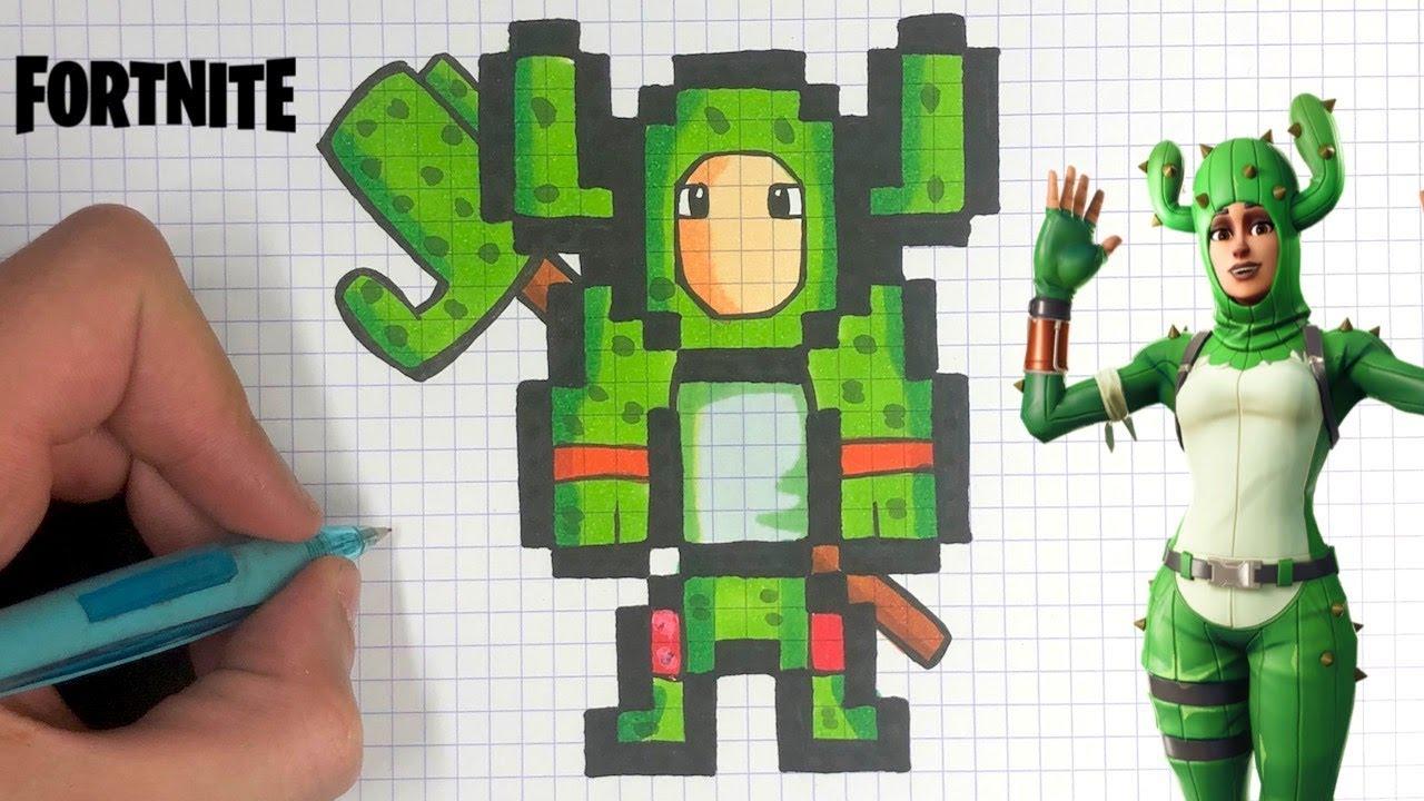 How To Draw Cactus Skin Pixel Art Fortnite