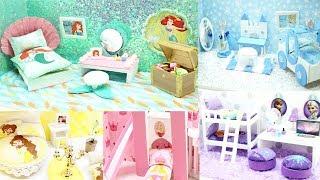 5 DIY DISNEY PRINCESS ROOMS! Little Mermaid Frozen Elsa Anna Aurora Cinderella