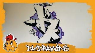 Graffiti Alphabet Tutorial - How to draw graffiti letters - Letter K